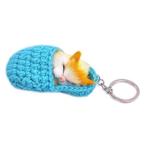 Llavero colgante largo con diseño de gato durmiendo con ...