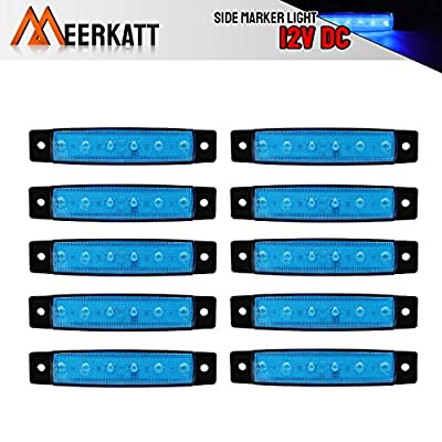 Meerkatt (Pack of 10) 3.8 Inch Blue 6 LED Side Clearance Indicators Marker License Decoration Light Fender Tail Rear Lamp Truck Trailer Bus Lorry Boat RV Pickup Camper Jeep Ambulance 12v DC Model TK12: Automotive