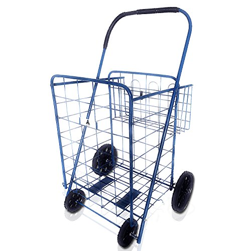 ATH Large Deluxe Rolling Utility / Shopping Cart with Basket - Stowable Folding Heavy Duty Cart with Rubber Wheels For Haul Laundry, Groceries, Toys, Sports Equipment, (Field Equipment Cart)