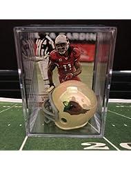 Chrome Edition Arizona Cardinals NFL Helmet Shadowbox w/Larry Fitzgerald card