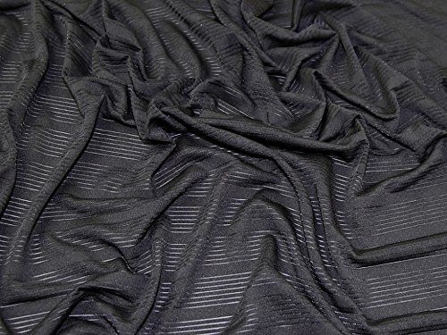 1105 Sheer - Sheer Stripe Stretch Jersey Knit Dress Fabric Black - per metre