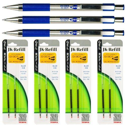 Zebra G-301 Gel Pens with Refills, Blue Gel Ink, 0.7mm Mediu