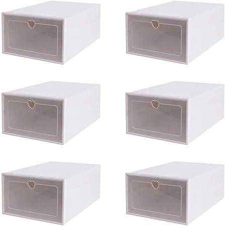 Bettying - Juego de 6 cajas apilables para zapatos, de plástico transparente, organizador para hombres 9,5 / mujeres 10,5, debe montarse: Amazon.es: Hogar