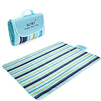 "Picnic Blanket, Glyby Waterproof Portable oversized 80""x58"" Beach Mat"