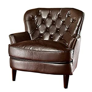 Christopher Knight Home Tafton Tufted Leather Club Chair, Brown