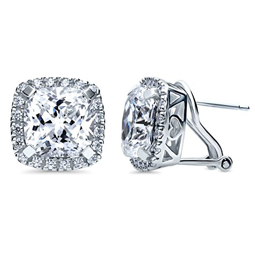 (BERRICLE Rhodium Plated Sterling Silver Cushion Cut Cubic Zirconia CZ Statement Halo Omega Back Anniversary Wedding Stud Earrings)
