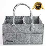 Baby Diaper Caddy - Bhome Portable Diaper Storage Caddy Organizer with Changeable Compartments, Nursery Storage Bin and Car for Diapers and Baby Wipes, Nappy Bags for Mom, Toys for Child, Large, Grey