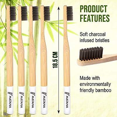 5 Premium Cepillos de Dientes de Bambú para Adulto - Blanqueamiento de Dientes Naturales Cepillos de Madera - Ecológico, 100% Biodegradable y Libre de BPA ...