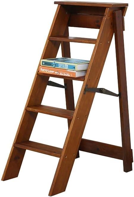 AJS Taburete De Madera Maciza   Escalera Plegable Ligera Silla Portátil Banco De Trabajo Casero Escalera Plegable De La Granja De 5 Pasos Taburete Plegable 34 × 59 × 87cm 150kg (color : C) : Amazon.es: Hogar