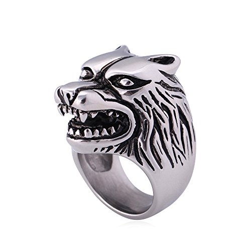 U7 Jewelry Vintage 316L Stainless Steel Wolf Head Ring for Men