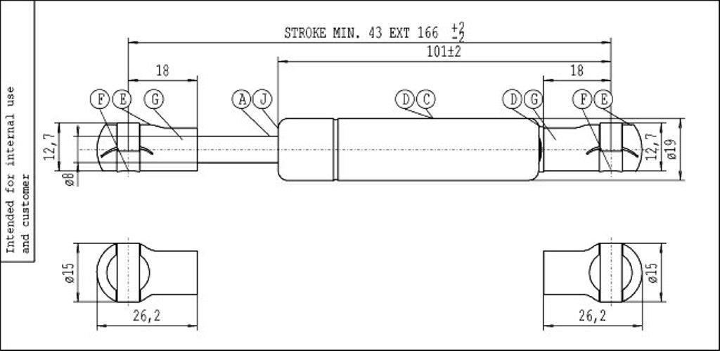 Stabilus 6581yl industrie du ressort /à gaz