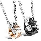 Aienid Couple Necklaces for Him and Her Queen and King Rings Stainless Steel Pendant Black&Rose Gold