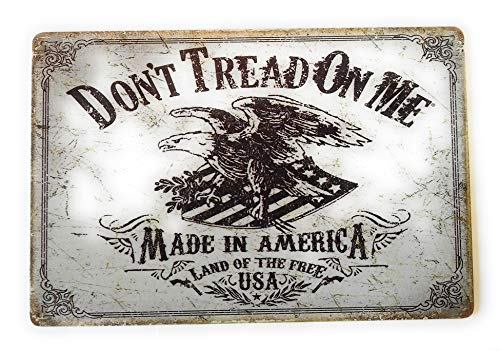 Don't Tread on Me Made in America Land of The Free USA Tin Sign Vintage Metal Sign Perfect Mancave Tin Sign College Dorm Room 8-Inch by 12-Inch | TSC235 (Best College Dorm Rooms In America)