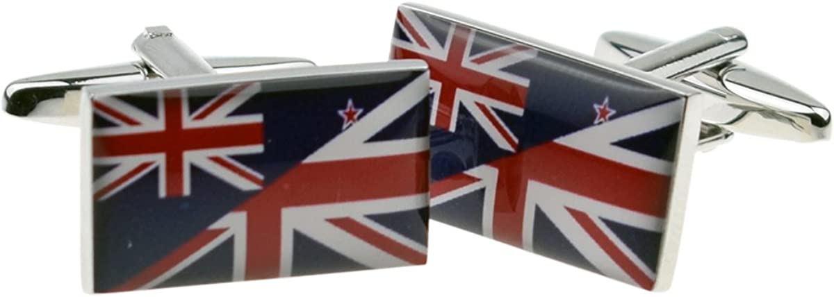 Union Jack Mixed with USA Flag Cufflinks in Personalised Cufflink Box