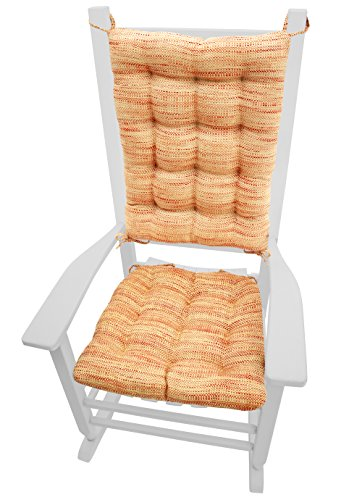 Rocking Chair Cushions - Brisbane Salsa - Size Standard - Latex Foam Fill - Machine Washable - Reversible (Red / Gold)