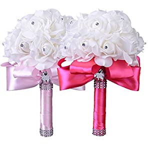Yu2d  Crystal Roses Bridesmaid Wedding Bouquet Bridal Artificial Silk Flowers 60