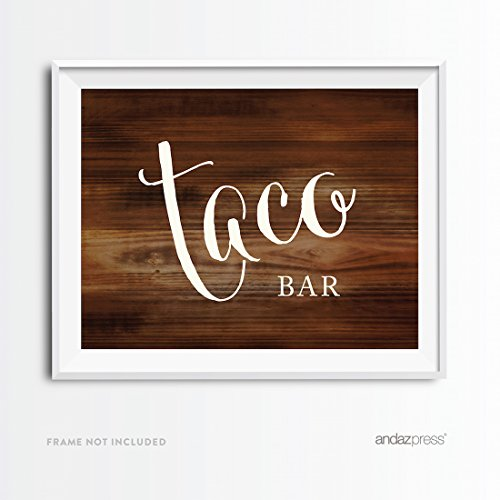 Andaz Press Wedding Party Signs, Rustic Wood Print, 8.5x11-inch, Taco Bar Reception Dessert Table Sign, 1-Pack, Food Station Decor Signage for Country Western Weddings