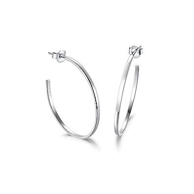 b9d209705 White Gold Plated 925 Sterling Silver High-Polished Piercing Open Half Hoop  Earrings Large Creole Stud Earrings for Women - Diameter 36 mm:  Amazon.co.uk: ...