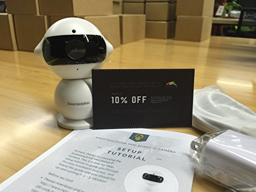 Smartdolphin Mini Robot Day & Night 960P Wireless IP Surveillance Camera for Baby Video Monitoring, Home Security or Business - White