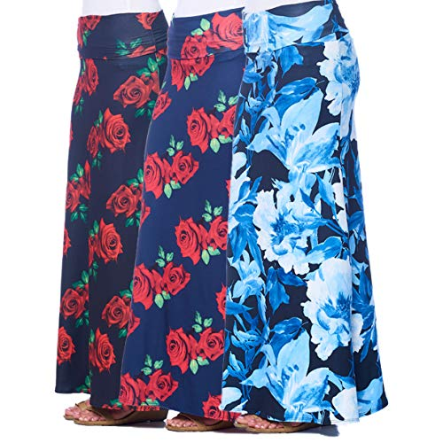 Isaac Liev Women's 3-Pack Floral Banded Maxi Skirts (Large, Navy & Red, Black & Red and Black & Blue Floral)
