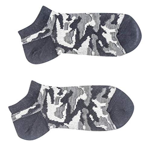 Loprt Men Elastic 100% Pure Cotton Socks Comfort Soft Camouflage Printed Socks (Dark Gray)