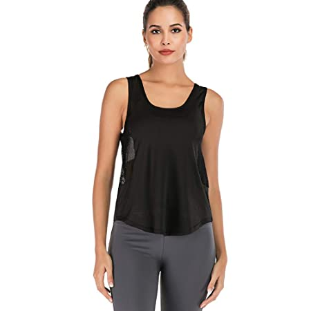 Dastrues Women Yoga Vest Mesh Breathable Solid Loose Hem ...