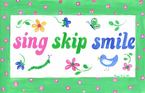 (The Kids Room by Stupell Sing, Skip, Smile Rectangle Wall Plaque)