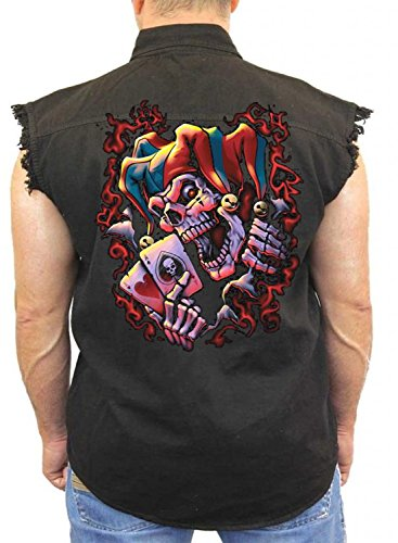 Evil Clown Denim Vest Wicked Jester Liquid Blue Mens Sleeveless Biker Wear M-5XL (Black, (Wicked Jester Tattoos)