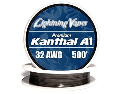 Genuine Lightning Vapes Kanthal 32 AWG Gauge A1 Wire 500' Roll .20mm , 13.75 Ohms/ft Resistance