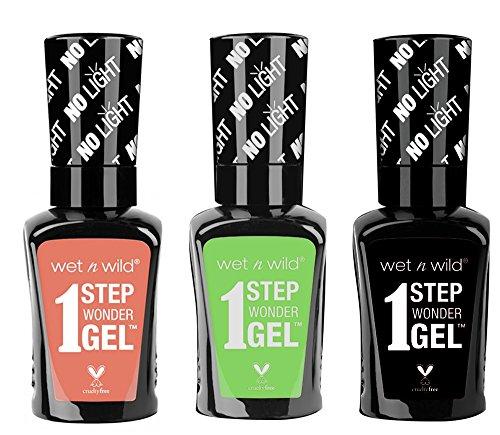 Wet n Wild 1 Step Wonder Nail color Gel 3-pc bundle (726A, 704A, -