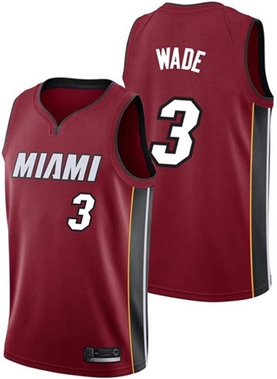 Shelfin - Camiseta de baloncesto de la NBA de Miami Heat del número 3 Wade, transpirable, grabada, color Rojo, tamaño Small: Amazon.es: Hogar