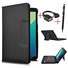 IVSO Galaxy Tab A 10.1 with S Pen Keyboard case - Ultra-Thin PU Leather DETACHABLE Bluetooth Keyboard Stand Case / Cover for Samsung Galaxy Tab A 10.1 with S Pen SM-P580NZWAXAR(Black)