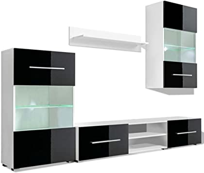 vidaXL Mueble de Pared 5 UDS Gabinete TV con Iluminación LED Color ...