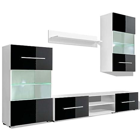 Porta Tv Da Muro.Vidaxl Vetrina Porta Tv Da Parete 5x Con Illuminazione Led Nero Mobili A Muro