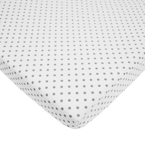 American Baby Company 100% Cotton Percale Fitted Portable/Mini Crib Sheet, White with Gray Dot by American Baby Company - Maple Baby Crib