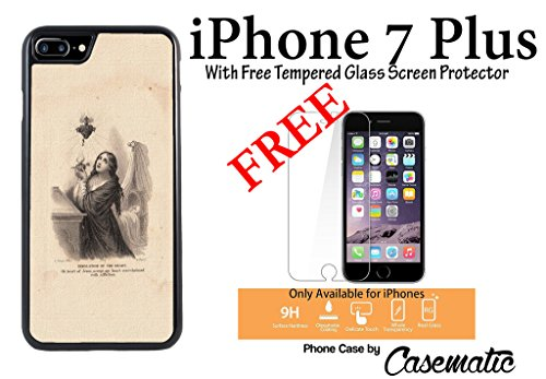 921 Glasses (iPhone Case Holy Heart Card Rubber Black Phone Case For Apple iPhone 7 Plus With Free .33 mm Premium Tempered Glass Screen Protector by Casematic)