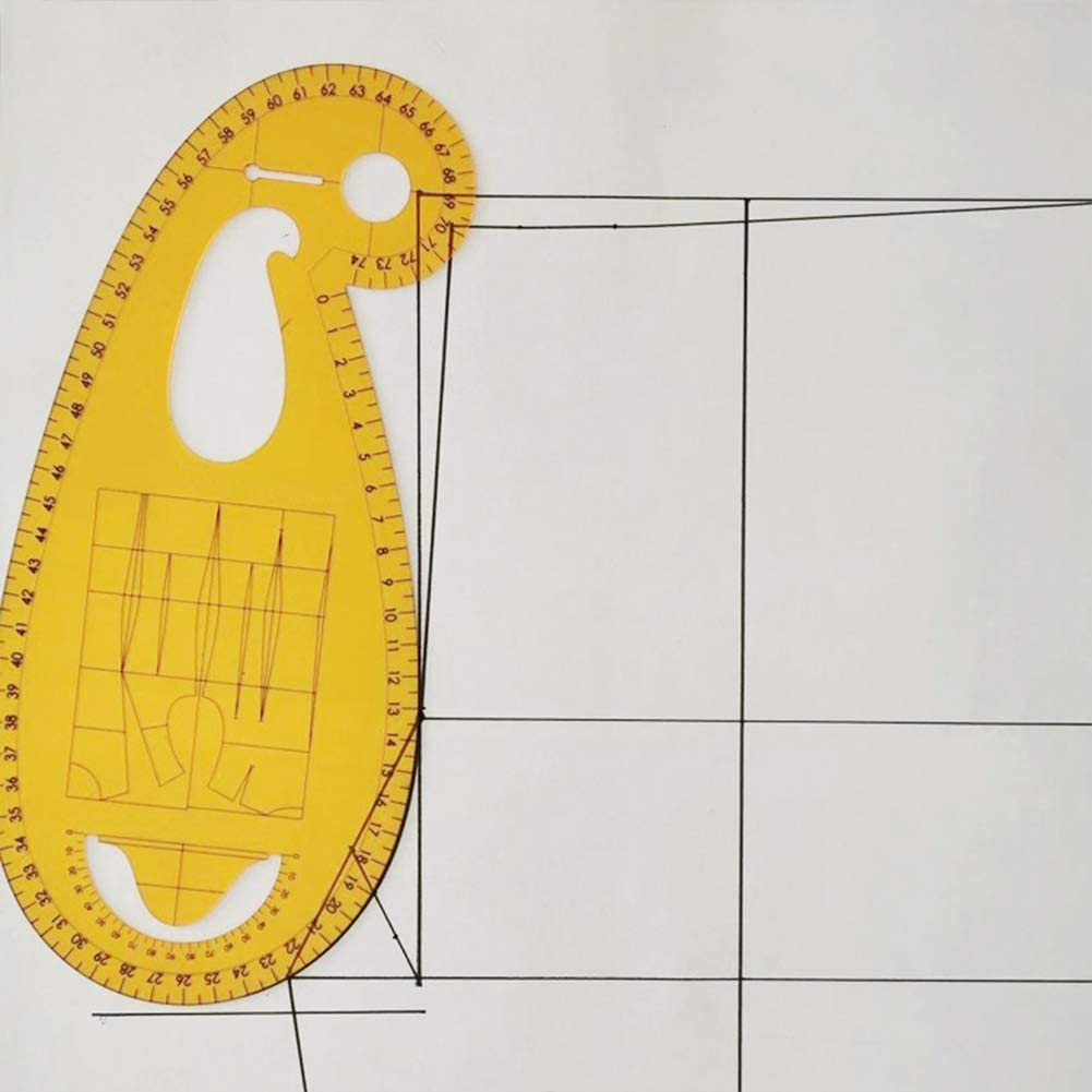 French Curve Drawing Template Ruler Plastic Clear Yellow Plastic Rulers for Fashion Designer