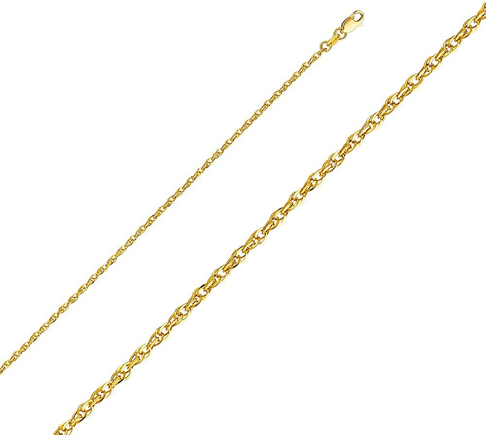 FB Jewels 14K White Yellow and Rose Three Color Gold Double Link Hollow Rope Chain Necklace With Lobster Claw Clasp
