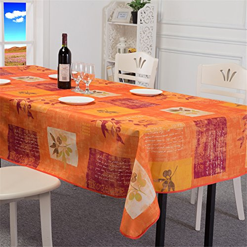 - QsyyHome European multicolor plants floral plaid printings decorative waterproof and oil-resistant rectangular tablecloth orange