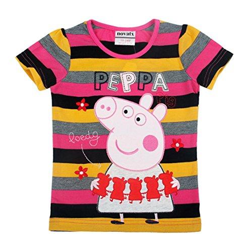 Novatx Peppa Pig Girls Summer Long-Sleeve Stripe Embroidered Cotton T Shirts Black Yellow 2/3Y