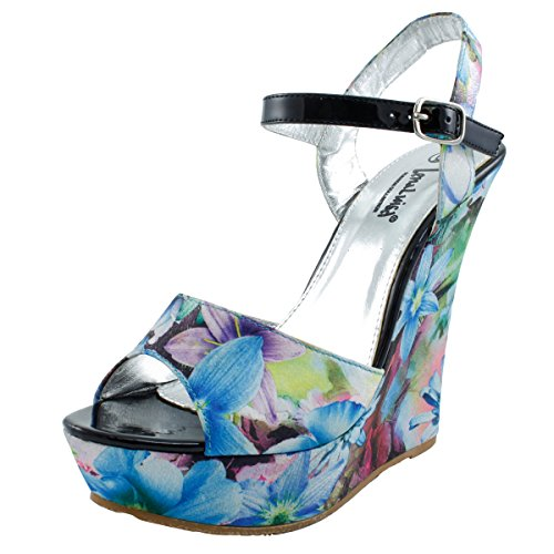 LenaLuisa Cartier-21 Floral Wedge, Turquoise, (Floral Print Wedge)