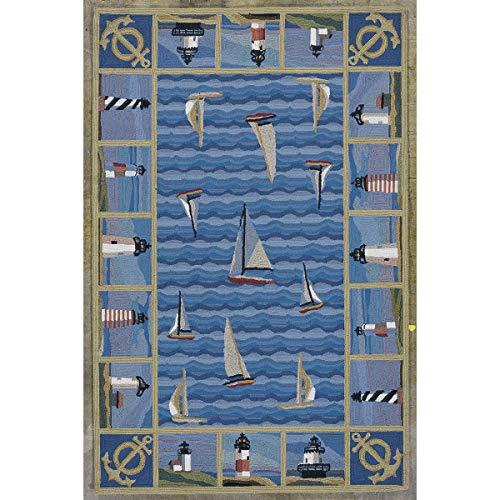 Bella Coastal Decor Colonial Blue Lighthouses Rug - 3 x 5 Oval