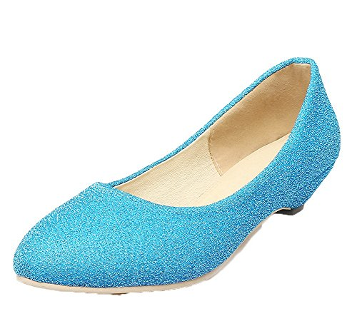 VogueZone009 Women's Solid PU Low-Heels Pull-On Round-Toe Pumps-Shoes Blue 5YoK6p