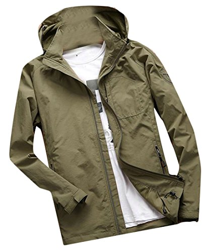 669ed4f657b Lutratocro Men s Sport Zip-up Outwear Big and Tall Hooded Casual Jacket  Coat Khaki XL