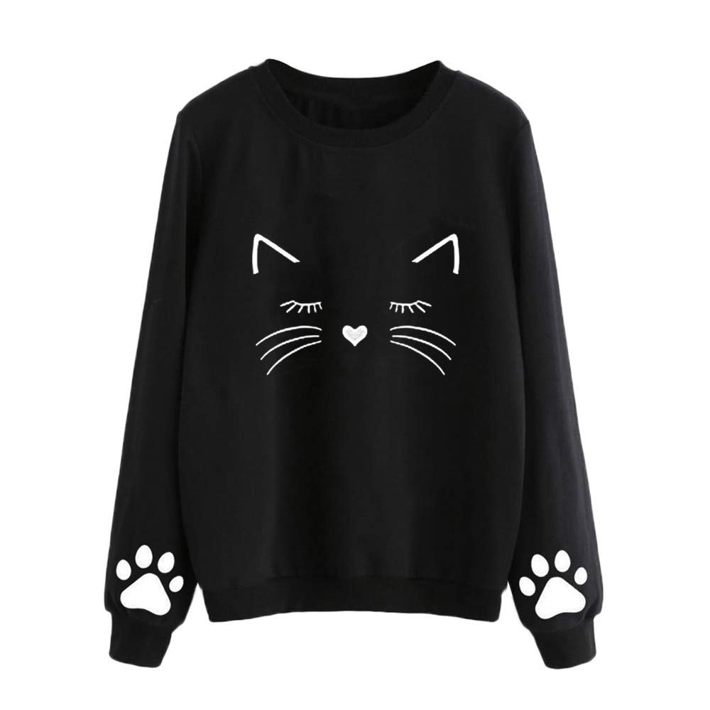 Pullover Blouse for Women, Novelty Knitwear, Women Autumn and Winter Cat Weater Round Neck Long Sleeve Regular Blouse BK/S (Black, S) ADESHOP