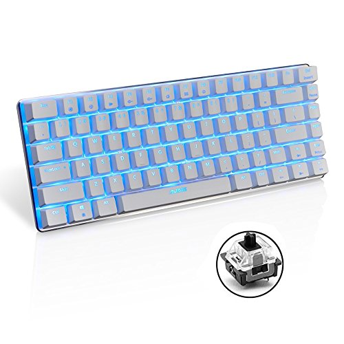 LexonElec Wired Gaming Keyboard Ajazz AK33 Blue LED Backlit 82 Keys Usb Mechanical Pro Gamer Keypad for Office Typists Playing Games (Black Switch, White)