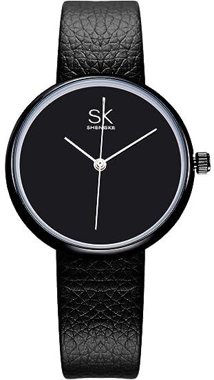 VOEONS Women s Elegant Black Genuine Leather Quartz Analog Wrist Watches  for Ladies with Waterproof 9af835ca3f