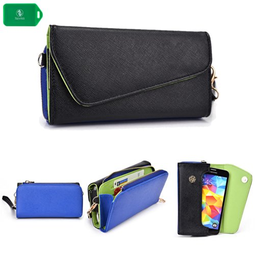 Fits Apple Iphone (CROSS BODY WRISTLET/WALLET SMARTPHONE HOLDER| BLACK/ROYAL BLUE | UNIVERSAL FIT FOR Apple iPhone 5s)