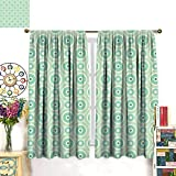 NineHuihome Rod Pocket Window Curtain Drape Decor Curtains for Living Room/Bedroom Little Circl