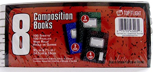 Top Flight Marble Composition Books 9.75 x 7.5 100 Sheets...